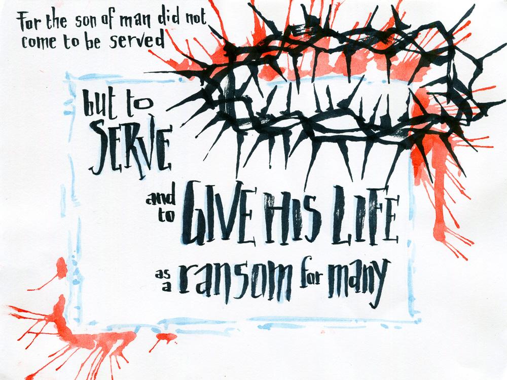Bible verse art Mark 10.45