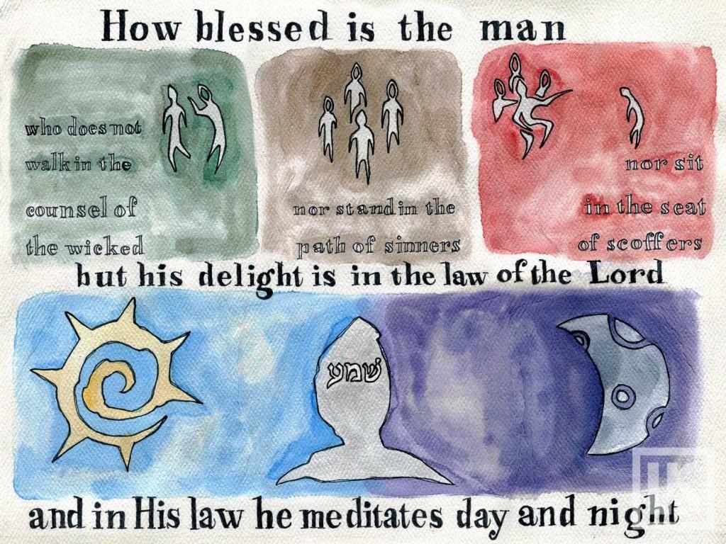 Psalm 1:1 Bible verse art