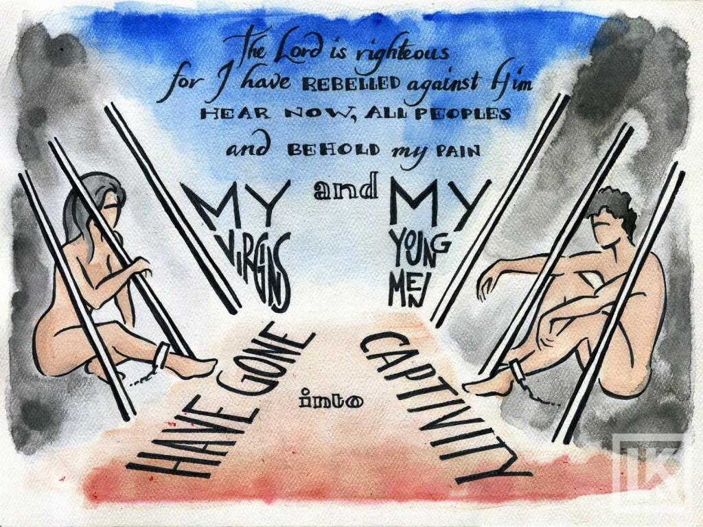 lamentations 1:18 Bible verse art