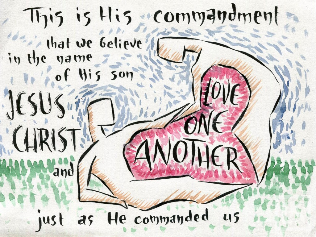 1 John 3-23 Bible verse illustration by Laura Kranz