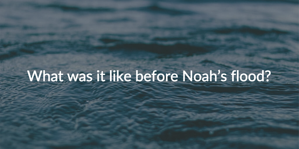 What was it like before Noah's flood?