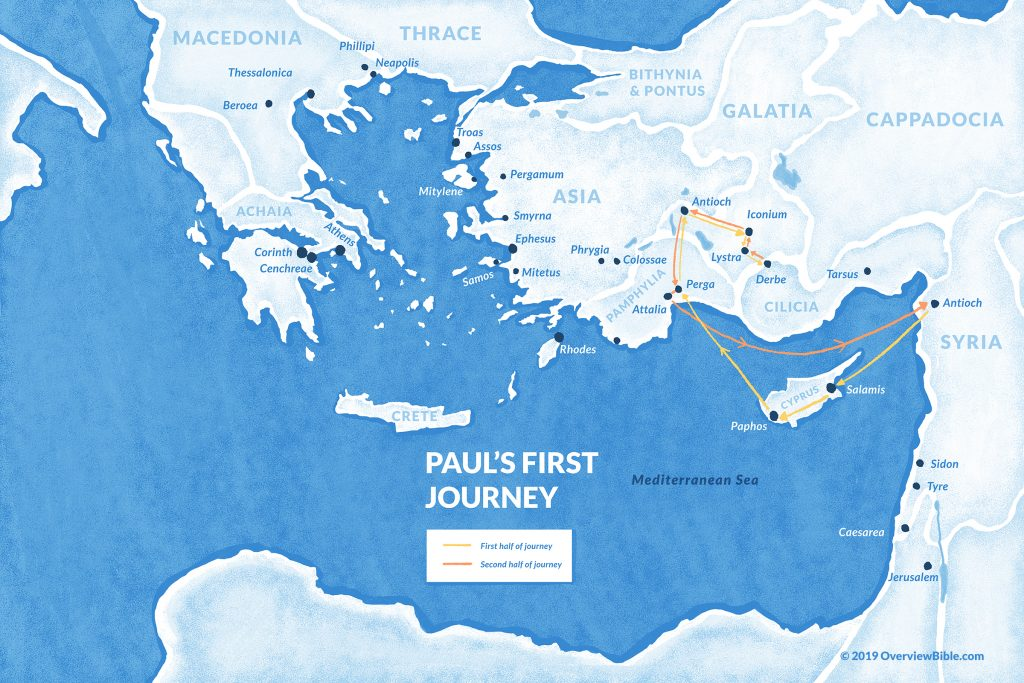 map of Paul's first missionary journey