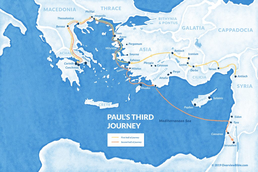 map of Paul's third missionary journey
